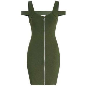 Topshop Bodycon Full Zip Dress